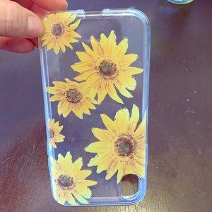 Sunning transparent Sunflower design 10XR case EUC